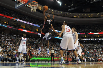 PHILADELPHIA - OCTOBER 27:  Dwyane Wade #3 of the Miami Heat lays up a shot during the game against the Philadelphia 76ers at the Wells Fargo Center on October 27, 2010 in Philadelphia, Pennsylvania. NOTE TO USER: User expressly acknowledges and agrees th