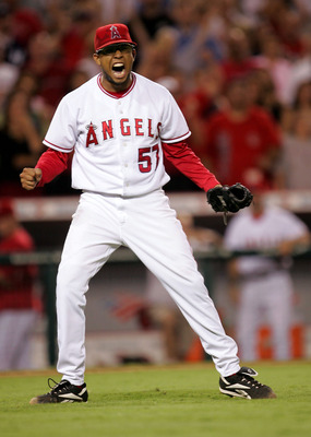 ANAHEIM, CA - JULY 21: Closer Francisco Rodriguez #57 of the Los Angeles Angels of Anaheim celebrates as the last out is made in the ninth inning in the game with the New York Yankees on July 21, 2005 at Angel Stadium in Anaheim, California. Rodriguez got
