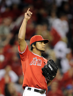 ANAHEIM, CA - MAY 25:  Ervin Santana #54 of the Los Angeles Angels celebrates an 8-3 win against the Toronto Blue Jays during the ninth inning at Angel Stadium on May 25, 2010 in Anaheim, California.  (Photo by Harry How/Getty Images)