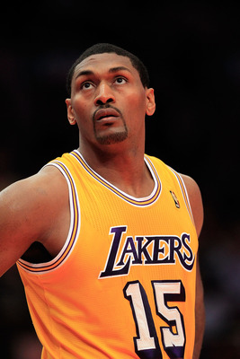 NEW YORK, NY - FEBRUARY 11: Ron Artest #15 of the Los Angeles Lakers on the court against the New York Knicks at Madison Square Garden on February 11, 2011 in New York City. NOTE TO USER: User expressly acknowledges and agrees that, by downloading and/or