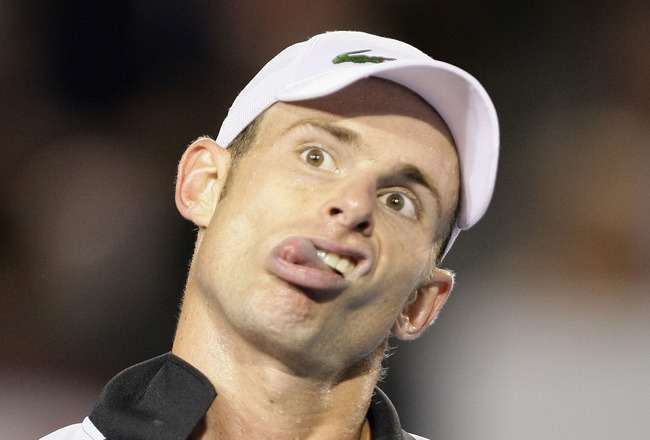 MELBOURNE, AUSTRALIA - JANUARY 29:  Andy Roddick of the United States of America pulls a face to the umpire in his semifinal match against Roger Federer of Switzerland during day eleven of the 2009 Australian Open at Melbourne Park on January 29, 2009 in