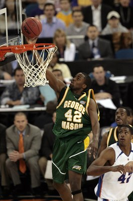 INDIANAPOLIS - APRIL 01: Folarin Campbell #42 of the George Mason Patriots lays the ball up in the first half against the Florida Gators during the semifinal game of the NCAA Men's Final Four on April 1, 2006 at the RCA Dome in Indianapolis, Indiana.  (Ph