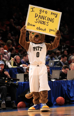 NEW YORK, NY - MARCH 10: The Pittsburgh Panthers mascot walks on the court during the game against the Connecticut Huskies during the quarterfinals of the 2011 Big East Men's Basketball Tournament presented by American Eagle Outfitters  at Madison Square