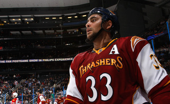 ATLANTA, GA - FEBRUARY 25:  Dustin Byfuglien #33 of the Atlanta Thrashers skates during a stoppage in play against the Florida Panthers at Philips Arena on February 25, 2011 in Atlanta, Georgia.  (Photo by Kevin C. Cox/Getty Images)