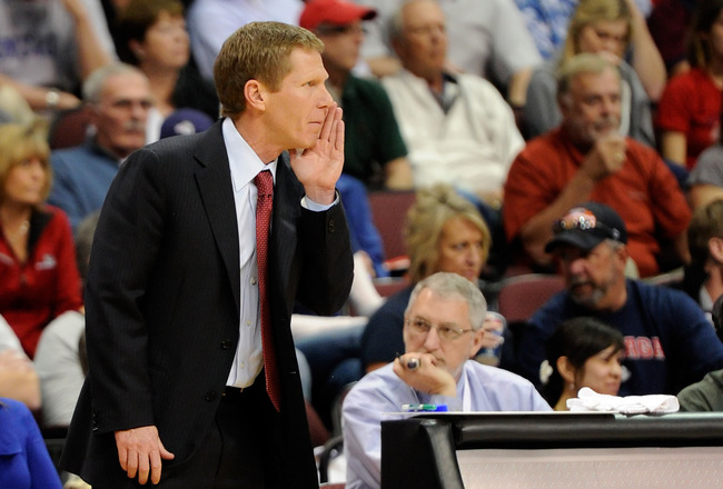 LAS VEGAS, NV - MARCH 07:  Gonzaga Bulldogs head coach Mark Few watches his players as they take on the Saint Mary's Gaels during the championship game of the Zappos.com West Coast Conference Basketball tournament at the Orleans Arena March 7, 2011 in Las