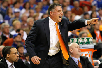 ATLANTA, GA - MARCH 11:  Head coach Bruce Pearl of the Tennessee Volunteers shouts instructions to his team during their game against the Florida Gators during the quarterfinals of the SEC Men's Basketball Tournament at Georgia Dome on March 11, 2011 in A