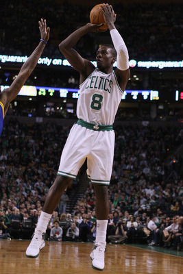 BOSTON, MA - MARCH 04:  Jeff Green #8 of the Boston Celtics takes a shot in the first half against the Golden State Warriors on March 4, 2011 at the TD Garden in Boston, Massachusetts.  NOTE TO USER: User expressly acknowledges and agrees that, by downloa