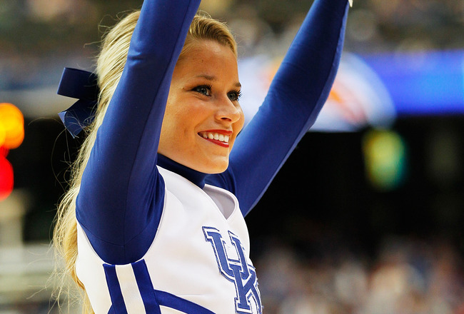 ATLANTA, GA - MARCH 13:  A Kentucky Wildcats cheerleader performs during their 70 to 54 win over the Florida Gators during the championship game of the SEC Men's Basketball Tournament at Georgia Dome on March 13, 2011 in Atlanta, Georgia.  (Photo by Kevin
