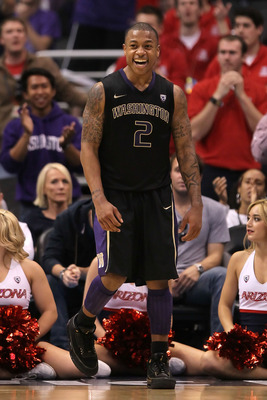 LOS ANGELES, CA - MARCH 12:  Isaiah Thomas #2 of the Washington Huskies reacts while taking on the Arizona Wildcats in the championship game of the 2011 Pacific Life Pac-10 Men's Basketball Tournament at Staples Center on March 12, 2011 in Los Angeles, Ca