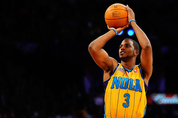 LOS ANGELES, CA - FEBRUARY 19:  Chris Paul #3 of the New Orleans Hornets competes in the Taco Bell Skills Challenge apart of NBA All-Star Saturday Night at Staples Center on February 19, 2011 in Los Angeles, California.  (Photo by Kevork Djansezian/Getty