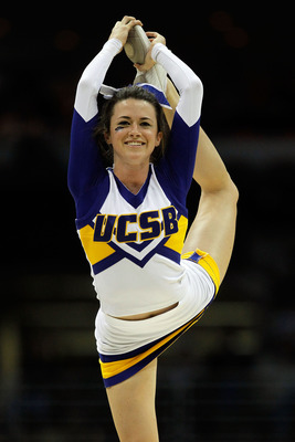 MILWAUKEE - MARCH 19:  A UC Santa Barbara Gauchos cheerleader performs during a break in the game against the Ohio State Buckeyes during the first round of the 2010 NCAA men's basketball tournament at the Bradley Center on March 19, 2010 in Milwaukee, Wis
