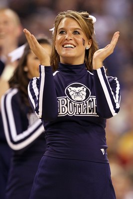 INDIANAPOLIS - APRIL 03: A Butler Bulldogs cheerleader performs on the court during a break in the game while taking on Michigan State Spartans during the National Semifinal game of the 2010 NCAA Division I Men's Basketball Championship on April 3, 2010 i