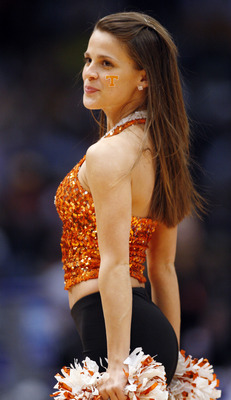 BIRMINGHAM, AL - MARCH 23:  A cheerleader of the Tennessee Volunteers performs during the second round of the East Regional as part of the 2008 NCAA Men's Basketball Tournament at the Birmingham-Jefferson Civic Center on March 23, 2008 in Birmingham, Alab