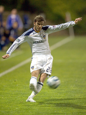 SAN DIEGO, CA - MARCH 2:  David Beckham #23 of the Los Angeles Galaxy kicks the ball against Club Tijuana during the second half at the exhibition game at Torero Stadium on March 2, 2011 in San Diego, California. (Photo by Kent Horner/Getty Images)
