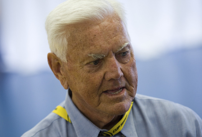 CONCORD, NC - MAY 22: NASCAR Hall of Fame inductee Junior Johnson attends the drivers meeting before the Sprint All-Star Race at Charlotte Motor Speedway on May 22, 2010 in Concord, North Carolina. (Photo by Chris Keane/Getty Images for NASCAR)
