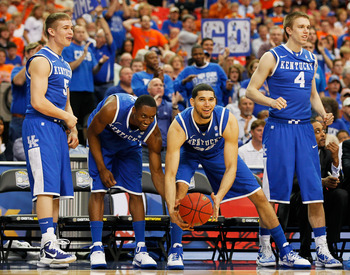 ATLANTA, GA - MARCH 13:  The Kentucky Wildcats bench reacts during their game against the Florida Gators in the championship game of the SEC Men's Basketball Tournament at Georgia Dome on March 13, 2011 in Atlanta, Georgia.  (Photo by Kevin C. Cox/Getty I