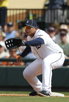 LAKELAND, FL - MARCH 02:  Miguel Cabrera #24 of the Detroit Tigers plays first base during the game against the Houston Astros at Joker Marchant Stadium on March 2, 2011 in Lakeland, Florida. The Astros defeated the Tigers 6-3.  (Photo by Leon Halip/Getty