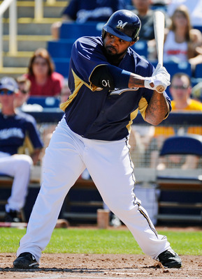 PHOENIX, AZ - MARCH 10:  Prince Fielder#28 of the Milwaukee Brewers swings the bat against the Colorado Rockies during the spring training baseball game at Maryvale Baseball Park on March 10, 2011 in Phoenix, Arizona.  (Photo by Kevork Djansezian/Getty Im