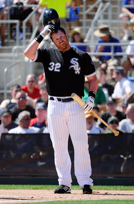 GLENDALE, AZ - MARCH 11:  Adam Dunn #32 of the Chicago White Sox during the spring training baseball game against Chicago Cubs at Camelback Ranch on March 11, 2011 in Glendale, Arizona.  (Photo by Kevork Djansezian/Getty Images)