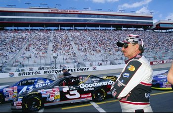 9 Apr 1999:  Dale Earnhardt #3 looking on during practice for the Food City 500 of the NASCAR Winston Cup Series at the Bristol Motor Speedway in Bristol, Tennessee. Mandatory Credit: Jamie Squire  /Allsport
