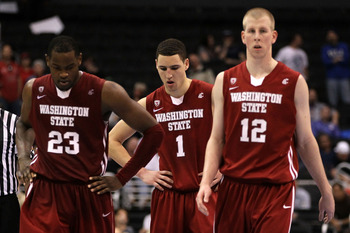 LOS ANGELES, CA - MARCH 10:  (L-R) DeAngelo Casto #23, Klay Thompson #1 and Brock Motum #12 of the Washington State Cougars walk on the court in the second half while taking on the Washington Huskies in the quarterfinals of the 2011 Pacific Life Pac-10 Me
