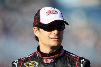 LAS VEGAS, NV - MARCH 04:  Jeff Gordon, driver of the #24 DuPont Chevrolet, stands on pit road during qualifying for the NASCAR Sprint Cup Series Kobalt Tools 400 at Las Vegas Motor Speedway on March 4, 2011 in Las Vegas, Nevada.  (Photo by Jeff Gross/Get