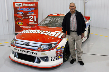 CONCORD, NC - JANUARY 27:  NASCAR Hall of Fame inductee David Pearson poses with the #21 Motorcraft Ford during the NASCAR Sprint Media Tour hosted by Charlotte Motor Speedway, held at the Roush-Fenway hanger of Concord Regional Airport, on January 27, 20