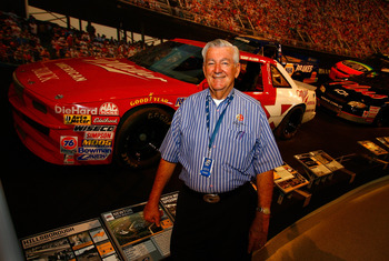 CHARLOTTE, NC - OCTOBER 13: NASCAR driver Bobby Allison poses in front of his race car on display during NASCAR Hall of Fame Voting Day at the NASCAR Hall of Fame on October 13, 2010 in Charlotte, North Carolina. (Photo by Jason Smith/Getty Images for NAS