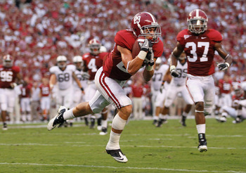 TUSCALOOSA, AL - SEPTEMBER 11:  Will Lowery #29 of the Alabama Crimson Tide intercepts a pass by the Penn State Nittany Lions at Bryant-Denny Stadium on September 11, 2010 in Tuscaloosa, Alabama.  (Photo by Kevin C. Cox/Getty Images)