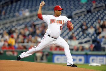 WASHINGTON - MAY 19:  Livan Hernandez #61 of the Washington Nationals pitches against the New York Mets at Nationals Park on May 19, 2010 in Washington, DC.  (Photo by Greg Fiume/Getty Images)