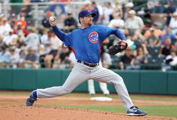 SCOTTSDALE, AZ - MARCH 01:  Starting pticher Ryan Dempster #46 of the Chicago Cubs pitches against the San Francisco Giants during the spring training game at Scottsdale Stadium on March 1, 2011 in Scottsdale, Arizona.  (Photo by Christian Petersen/Getty
