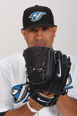 DUNEDIN, FL - FEBRUARY 20:  Ricky Romero #24 of the Toronto Blue Jays poses during photo day at Florida Auto Exchange Stadium on February 20, 2011 in Dunedin, Florida.  (Photo by Nick Laham/Getty Images)