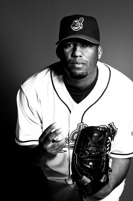 GOODYEAR, AZ - FEBRUARY 22: (*** EDITOR'S NOTE*** IMAGE HAS BEEN DIGITALLY CONVERTED TO BLACK & WHITE) Fausto Carmona #55 of the Cleveland Indians poses during their photo day at the Cleveland Indians Spring Training Complex on February 22, 2011 in Goodye