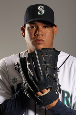 PEORIA, AZ - FEBRUARY 20:  Felix Hernandez #34 of the Seattle Mariners poses for a portrait at the Peoria Sports Complex on February 20, 2011 in Peoria, Arizona.  (Photo by Ezra Shaw/Getty Images)
