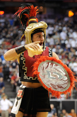 LAS VEGAS, NV - MARCH 12:  San Diego State Aztecs mascot Aztec Warrior is filmed on the court during the championship game of the Conoco Mountain West Conference Basketball tournament against the Brigham Young University Cougars at the Thomas &amp; Mack Cente