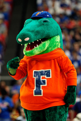 ATLANTA, GA - MARCH 12:  Florida Gators mascot Albert entertains fans during their game against the Vanderbilt Commodores in the semifinals of the SEC Men's Basketball Tournament at Georgia Dome on March 12, 2011 in Atlanta, Georgia.  (Photo by Kevin C. C