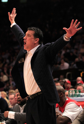 NEW YORK, NY - MARCH 10: Head coach Steve Lavin of the St. John's Red Storm reacts from the bench during the first half against the Syracuse Orange during the quarterfinals of the 2011 Big East Men's Basketball Tournament presented by American Eagle Outfi