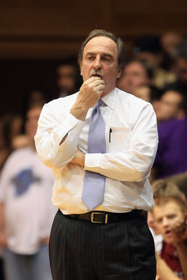 DURHAM, NC - FEBRUARY 23:  Head coach Fran Dunphy of the Temple Owls watches his team against the Duke Blue Devils during their game at Cameron Indoor Stadium on February 23, 2011 in Durham, North Carolina.  (Photo by Streeter Lecka/Getty Images)