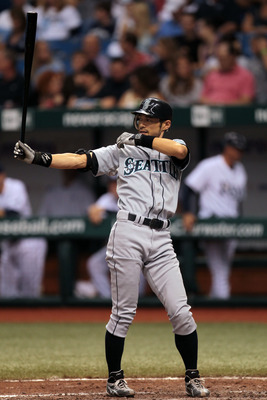 ST PETERSBURG, FL - SEPTEMBER 25: Ichiro Suzuki #51 of the Seattle Mariners steps into the batting box against the Tampa Bay Rays at Tropicana Field on September 25, 2010 in St. Petersburg, Florida. (Photo by Eliot J. Schechter/Getty Images)