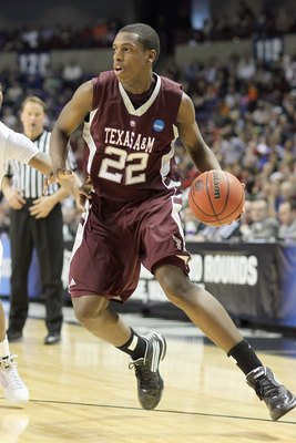 SPOKANE, WA - MARCH 21: Khris Middleton #22 of the Texas A&amp;M Aggies drives the ball against the Purdue Boilermakers during the second round of the 2010 NCAA men's basketball tournament at the Spokane Arena on March 21, 2010 in Spokane, Washington. Purdue