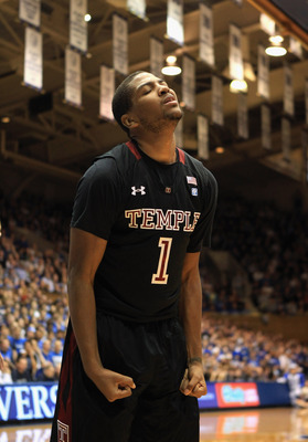 DURHAM, NC - FEBRUARY 23:  Khalif Wyatt #1 of the Temple Owls reacts to a call against the Duke Blue Devils during their game at Cameron Indoor Stadium on February 23, 2011 in Durham, North Carolina.  (Photo by Streeter Lecka/Getty Images)