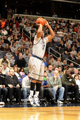 WASHINGTON, DC - FEBRUARY 5:  Austin Freeman #15 of the Georgetown Hoyas takes a jump shot during a college basketball game against the Providence Friars on February 5, 2011 at the Verizon Center in Washington, DC.  The Hoyas won 83-81.  (Photo by Mitchel