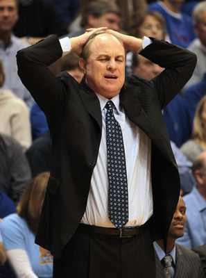 LAWRENCE, KS - DECEMBER 02:  Head coach Ben Howland of the UCLA Bruins reacts after a foul during the game against the Kansas Jayhawks on December 2, 2010 at Allen Fieldhouse in Lawrence, Kansas.  (Photo by Jamie Squire/Getty Images)
