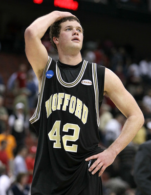 JACKSONVILLE, FL - MARCH 19:  Noah Dahlman #42  of the Wofford Terriers walks off of the court following the game against the Wisconsin Badgers in the first round of the 2010 NCAA men's basketball tournament at Jacksonville Veteran's Memorial Arena on Mar