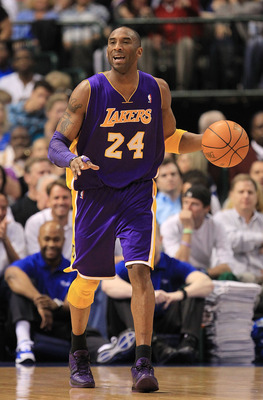 DALLAS, TX - MARCH 12:  Guard Kobe Bryant #24 of the Los Angeles Lakers at American Airlines Center on March 12, 2011 in Dallas, Texas.  NOTE TO USER: User expressly acknowledges and agrees that, by downloading and or using this photograph, User is consen