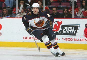 EAST RUTHERFORD, NJ - DECEMBER 23: Patrik Stefan #27 of the Atlanta Thrashers skates during the game against the New Jersey Devils on December 23, 2005 at Continental Airlines Arena in East Rutherford, New Jersey. The Thrashers defeated the Devils 1-0.(Ph