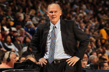DENVER, CO - FEBRUARY 28:  Head coach George Karl of the Denver Nuggets leads his team against the Atlanta Hawks during NBA action at the Pepsi Center on February 28, 2011 in Denver, Colorado. The Nuggets deafeated the Hawks 100-90. NOTE TO USER: User exp