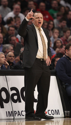 CHICAGO, IL - MARCH 07: Head coach Tom Thibodeau of the Chicago Bulls calls a play during a game against the New Orleans Hornets at the United Center on March 7, 2011 in Chicago, Illinois. The Bulls defeated the Hornets 85-77. NOTE TO USER: User expressly