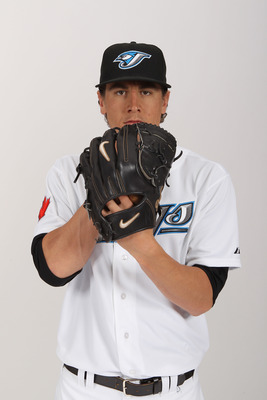 DUNEDIN, FL - FEBRUARY 20:  Zach Stewart #56 of the Toronto Blue Jays poses during photo day at Florida Auto Exchange Stadium on February 20, 2011 in Dunedin, Florida.  (Photo by Nick Laham/Getty Images)