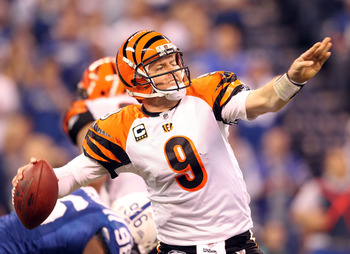 INDIANAPOLIS - NOVEMBER 14:  Carson Palmer #9 of the Cincinnati Bengals throws a pass during the Bengals 23-17 loss to the Indianapolis Colts in the NFL game at Lucas Oil Stadium on November 14, 2010 in Indianapolis, Indiana. The Colts won 23-17.  (Photo